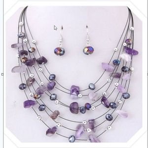 Jewelry - 🎉Purple Shell and Bead Necklace with earrings